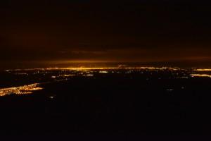 Vue sur la vallée del Cauca de nuit