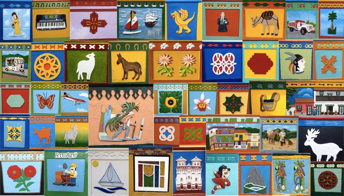 Composition des zocalos qui ornent les maisons du village de Guatapé