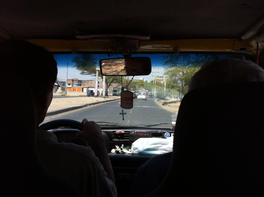 Vue de l'intérieur d'un taxi