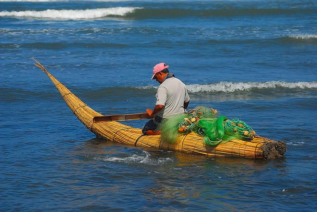 Pêcheur sur son embarcation de roseaux